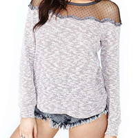 White Long Sleeve with Mesh Net Accent Top