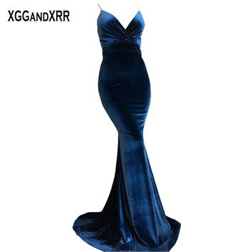 Velvet Blue Mermaid Prom Dresses 2018 Evening Dress Long Corsets Bandage Sweep Train Sexy Party Dress Plus Size Amazing Woman