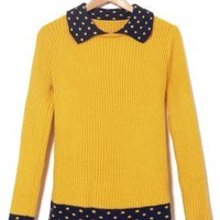 Study Group Contrast Turn Collar Rib Knit Sweater in Mustard/Navy | Sincerely Sweet Boutique