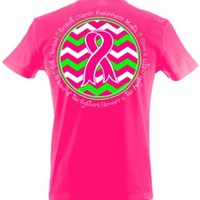Breast Cancer Awareness Ribbon Chevron Printed T-shirt-xxl