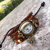 Wrist Watch Handmade Wristwatches Vintage Ladies Girls Womens Mens Leather Bangle Beaded Bracelet Quartz  Butterfly Pendant (GA0028)
