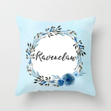 HP Ravenclaw in Watercolor Throw Pillow by Snazzy Sisters | Society6
