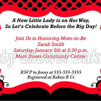 Printable Ladybug Baby Shower Invitation, Ladybug Baby Shower Invitation, Ladybug Baby Shower