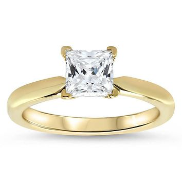 1.7ct Princess Cut Solitaire Moissanite Ring Engagement Ring - Jem