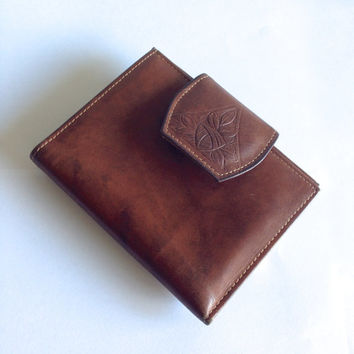 Vintage 70s Brown Leather Wallet with Coin Purse Tooled Leather Flower Snap Closure Rolf's Cowhide Bohemian Leather Flower Wallet