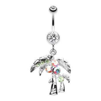 Summer Palmtree Belly Button Ring