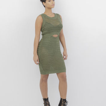SWEAT HER CROCHET SWEATER DRESS - OLIVE