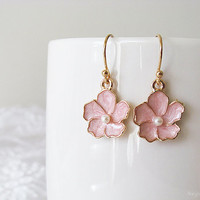 Pink Flower Earrings - Sakura Flower Earrings - Polished Gold Plated Over Brass - Cherry Blossom Floral Earrings