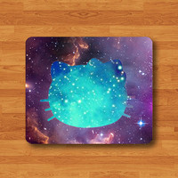 Hello Kitten CAT Galaxy Nubula Mouse Pad Black Drawing Desk Deco Pad Cartoon Shadow Cat MousePad Rubber Personalized Gift Computer Pad