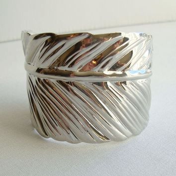 Stamped Metal Leaf Cuff Bracelet Unusual Floral Jewelry