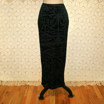 Velvet Burnout Skirt Black Maxi Long Straight Skirt Bohemian Goth Betsey Johnson Pencil Skirt Edgy Womens Skirts XS Small Womens Clothing