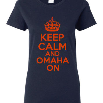 Keep Calm And OMAHA ON Peyton Broncos Fan T Shirt Great Football shirt Ladies Shirt Mens Shirts Kids Shirt Broncos Denver T Shirt Navy