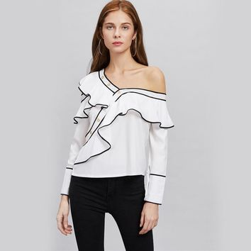 Contrast Ruffle Blouse Asymmetrical Cute Tops Women White Layered Summer Tops Cold Shoulder Long Sleeve Blouse