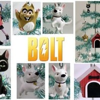 Unique Set of 8 Bolt Christmas Tree Ornaments Featuring Bolt Dog House, Bolt, Penny, Mittens and Rhi