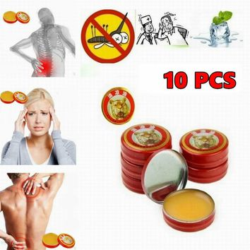 10pcs Tiger Muscle Massager Relax Essential Oil Magic Balm Refresh Influenza Treatment Cold Headache Dizziness (Color: Red)