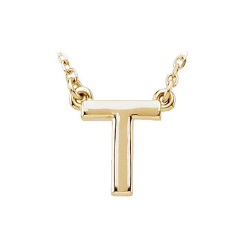 Block initial Necklace in 14k Yellow Gold, Letter T