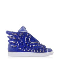 Roberto Cavalli Designer Shoes Electric Blue Leather Sneaker