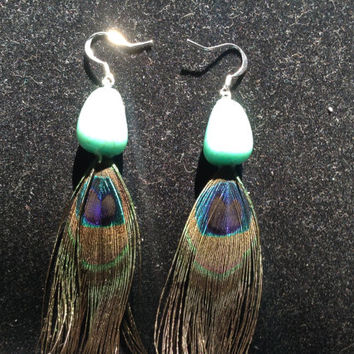 Turquoise Nugget Peacock Earrings