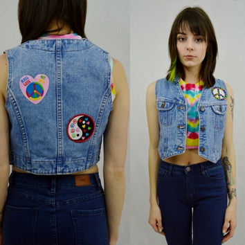 Denim Vest Patches Hippie Soft Grunge Small XS Peace Rainbow Light Wash Denim 90s Lee Brand Womens Vintage Clothing Sleeveless Shirt Cropped