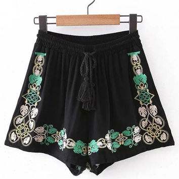 Black Ethnic Style Embroidered Shorts