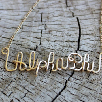 Alpha Phi Sorority Wrapped Necklace, Customized Hand Wrapped Gold Necklace,  Alpha Phi Necklace, Alpha Phi Gold Necklace