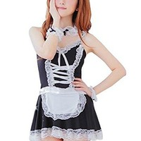 Kmety Women's Maid Sexy Uniform Backless Nightskirt Exotic Lingerie Cosplay