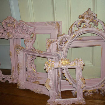 A set of 6 Heavily shabby chic distressed eclectic pale pink farmhouse french country ornate wall baroque frame