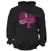 XtraFly Apparel Courage Fight Hope Breast Cancer Ribbon Hooded-Sweatshirt Pullover Hoodie