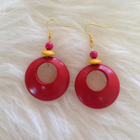 Upcycled Red Wooden Earrings - Handmade, Upcyled Vintage Earring Parts, Hoops, Yellow, Gold Tone, Fun, Dangle, Retro, Wood, Reclaimed