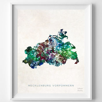 Mecklenburg Vorpommern Map, Germany, Print, Watercolor, German, Europe, Home Town, Poster, Country, Wall Decor, Painting, Bedroom, World