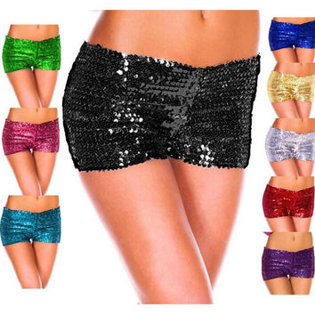 Summer new sexy casual shorts hot pants shining scale print pants