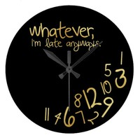 Black and Gold Whatever Wall Clock - eatlovepray