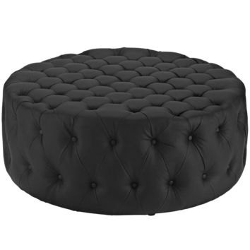 Amour Upholstered Faux Leather Ottoman