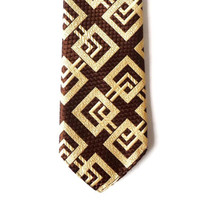 Vintage Men Necktie, Brown Golden Tie, Man Accessories, Geometric Design
