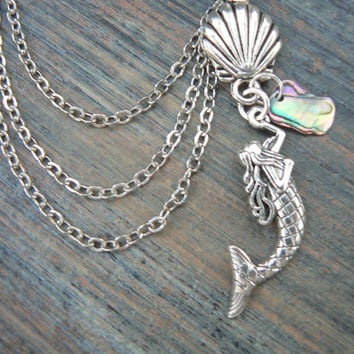 mermaid ear cuff, one chained, abalone mermaid cuff
