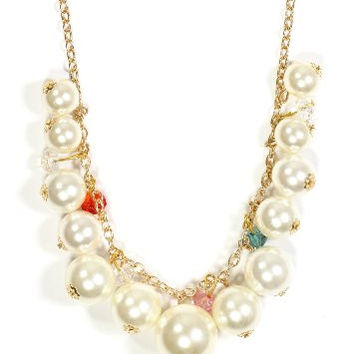 Beaded Faux Pearls Strand Cascade Necklace NO40 Fashion Jewelry