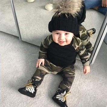 2017 New Style Newborn Toddler Baby Boy Clothes Long Sleeve Camo Patchwork Top+Pants Infant 2 Pcs Baby Girl Clothing Set