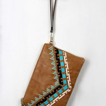 Aztec Vegan Leather Contrast Stitching Clutch