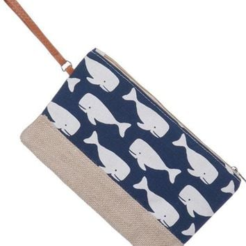 Whale Wristlet in Navy