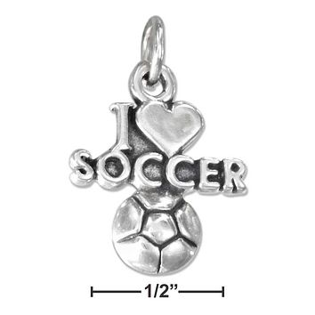 "Sterling Silver Charm:  ""i Heart Soccer"" Charm With A Soccer Ball"