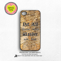 Not all those who wander are lost quote iPhone case 4/4S-Tolkien quote iPhone 5/5S-Lord of Ring iPhone 6-Tolkien S4/S5-by Natura Picta-NP130