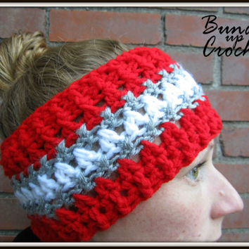 OSU Buckeyes Crochet Headband Fall Winter Warm Soft Earwarmer Accessory with Three Colors Ear Warmer Scarlet & Gray Ohio State