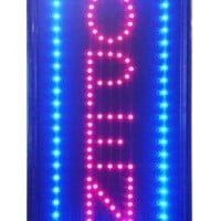 "Open Vertical LED Neon Sign 10x20"" Now Brighter and Bigger with On/off Animation + On/off Switch +Chain"