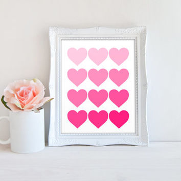 Pink Ombre Hearts Printable Sign, Gradient Heart Shaped Printable Digital Wall Art Template, Instant Download, Customizeable 8x10