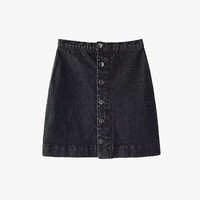 Black Washed Denim Mini Skirt
