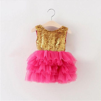 "The ""Gigi"" Shimmer Gold Sequin Bow Baby Toddler Dress - Hot Pink"