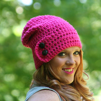 Slouchy Beanie Hat with Two Buttons Crochet Beanie / The Dartmoor With Touch of Shimmer /