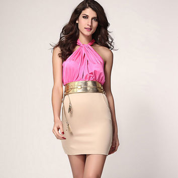 New Exquisite Strapless Halter Slim Sleeveless Dress