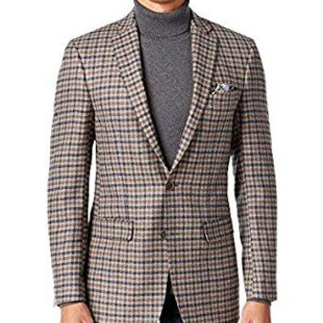 Tallia Men's Grey/Brown Windowpane Wool Blazer