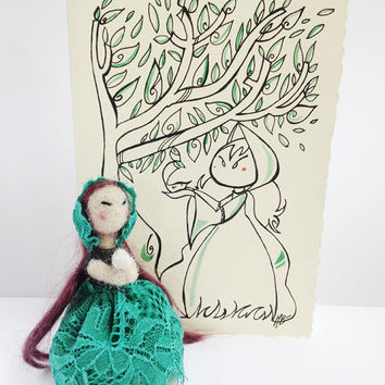 Art doll and card, gift set in collaboration with Pupillae Art Doll